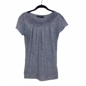 The Limited Gray Silver Pleated Semi Sheer Top S